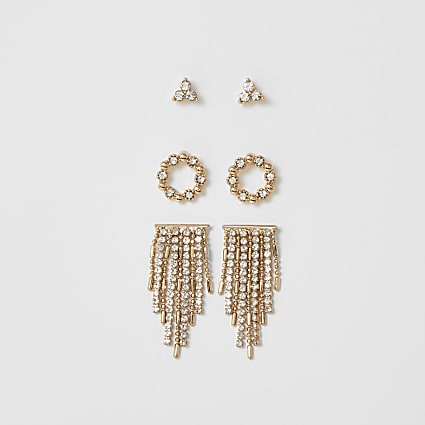 Gold diamante tassel earring 3 pack