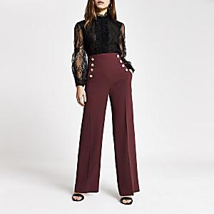 RI Petite - Rode broek met wijde pijpen en knopen voor