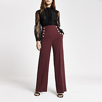 Petite red button front wide leg trousers
