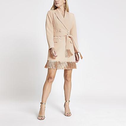 Petite pink tassel fringe blazer dress