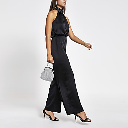 Black diamante halter neck satin jumpsuit