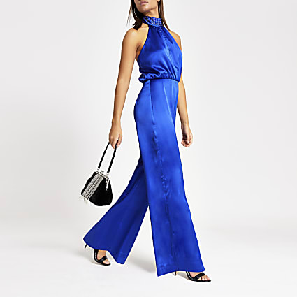 Blue diamante halter neck satin jumpsuit