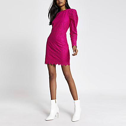 Pink broderie puff sleeve mini dress