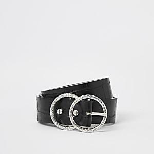 Zwarte  riem met dubbele ring en krokodillenreliëf