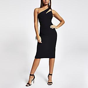 Schwarzes Bodycon-Kleid mit einer strassbesetzten Schulter