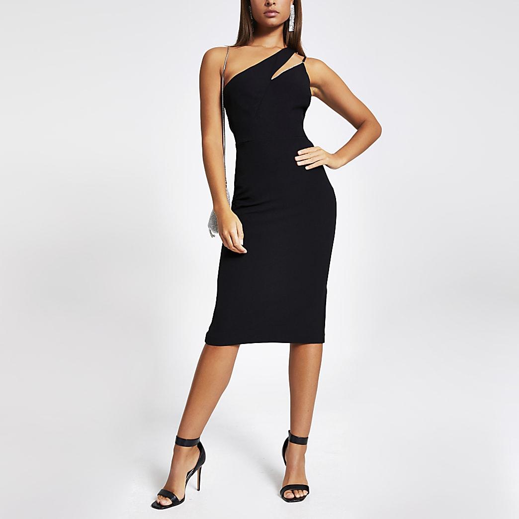 Black one diamante shoulder bodycon dress