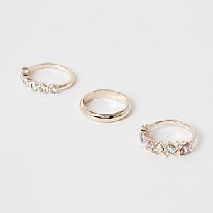 Roségoldener Ring mit Schmucksteinverzierung im 3er-Pack