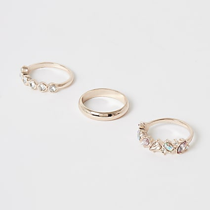 Rose gold jewel embellished ring 3 pack