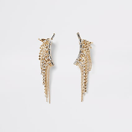 Gold diamante chainmail tassel ear cuffs