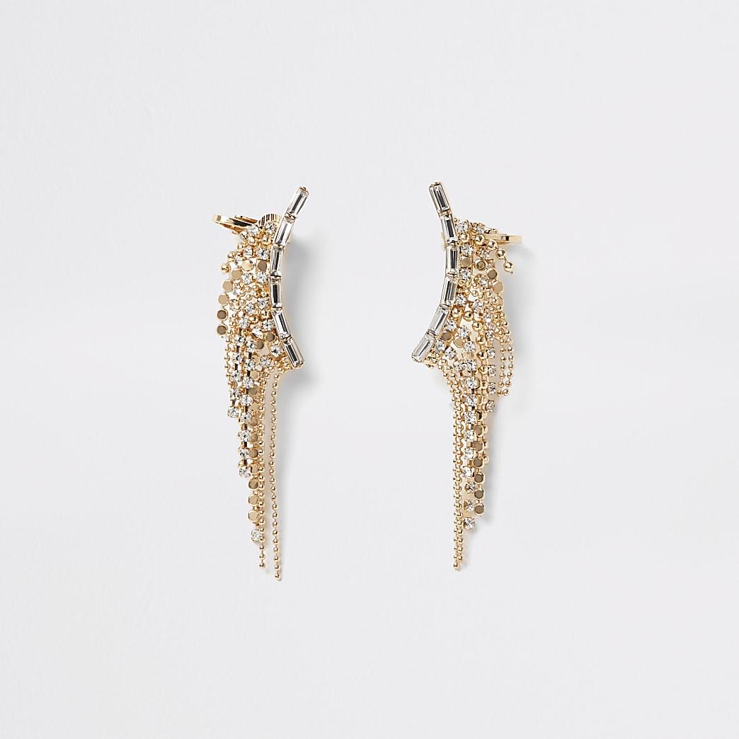 Gold colour diamante tassel ear cuffs