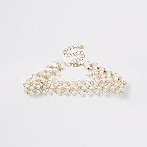 Choker-Kette in Gold mit Perlen und Strass