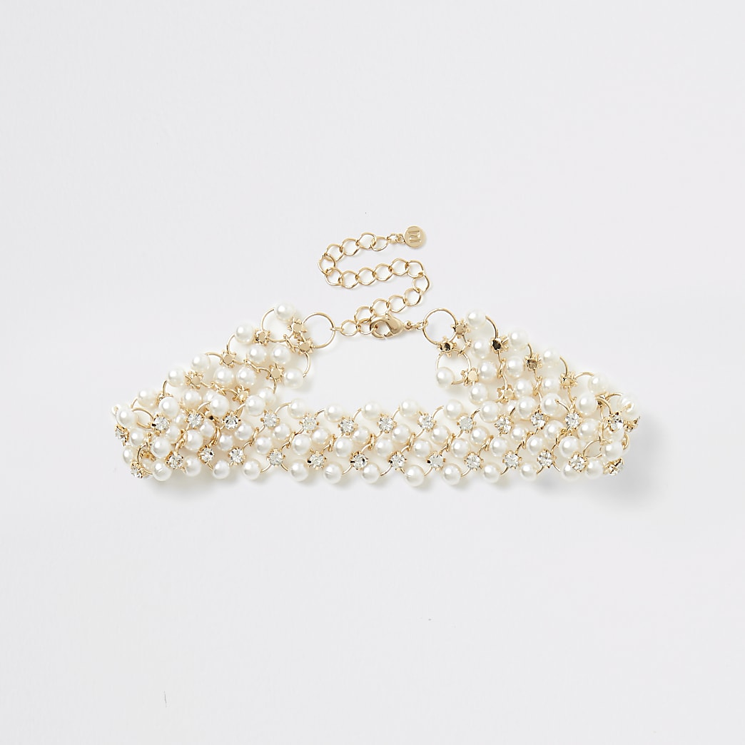Gold pearl and diamante choker necklace