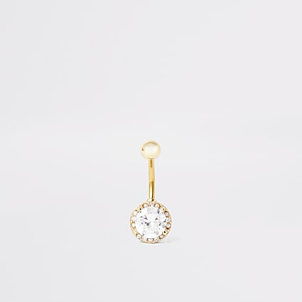 Gold circle diamante belly bar