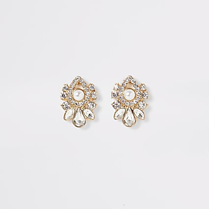 Gold embellished teardrop stud earrings