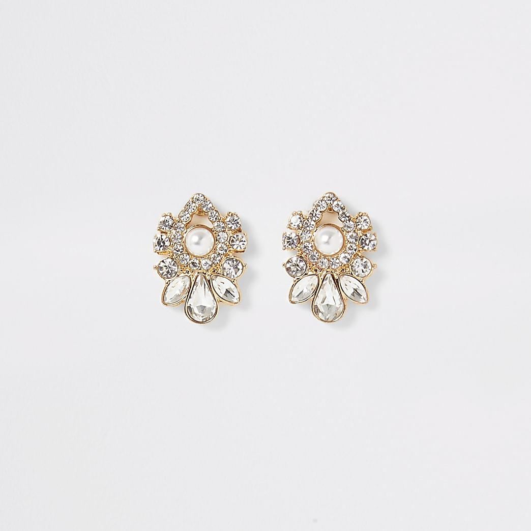 Gold embellished teardrop stud earrings