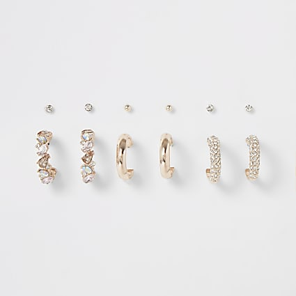 Rose gold jewel mixed earring multipack