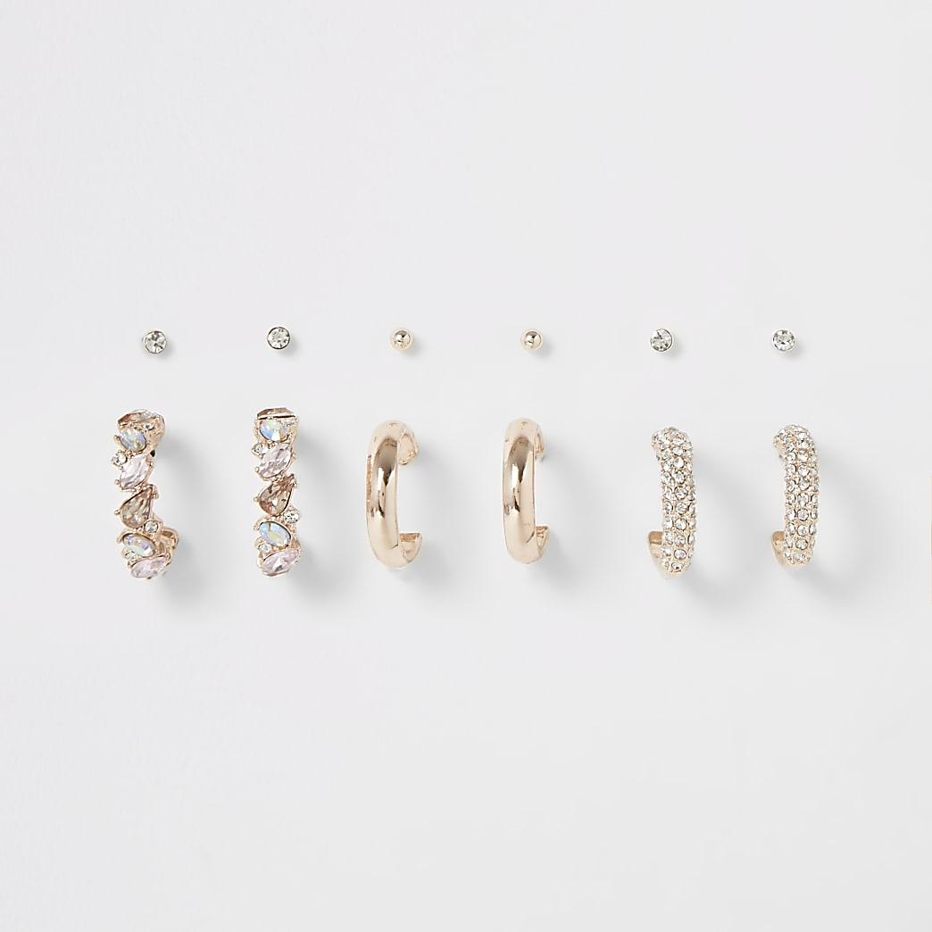 Rose gold colour jewel earring multipack