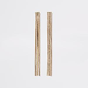 Boucles d'oreilles avec franges longues en chaine avec strassdorées