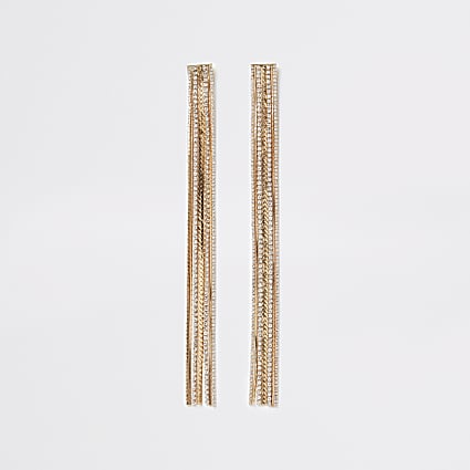 Gold diamante chain long tassel earrings