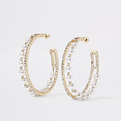 Gold embellished layered hoop earrings