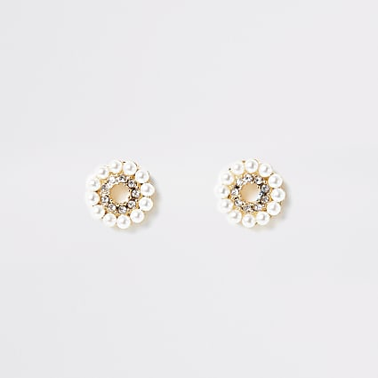 Gold colour pearl diamante ring stud earrings