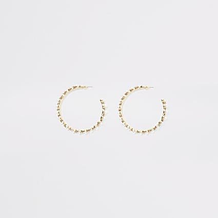 Gold pearl and diamante hoop earrings