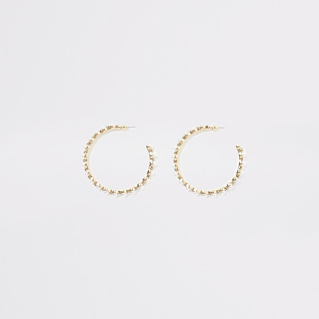 Créoles dorées à perles et strass