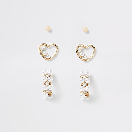 Gold pearl embellished heart earrings 3 pack