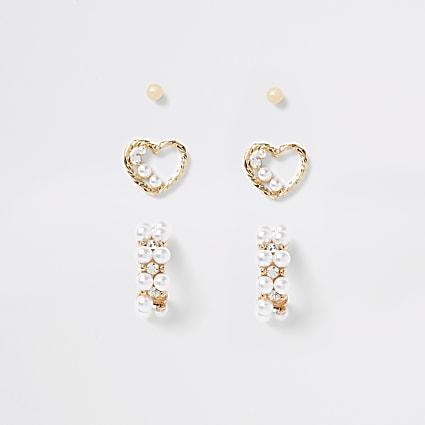 Gold pearl embellished heart earrings 3 pack