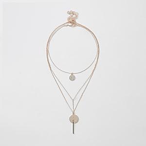 Lot de3 colliers ras-du-cou or rose avec pendentifs