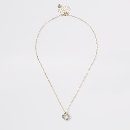 Rose gold diamante circle pendant necklace