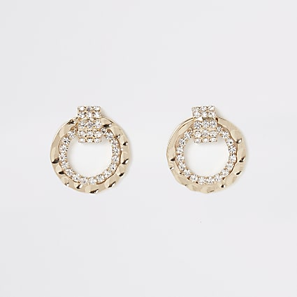 Gold diamante circle drop stud earrings