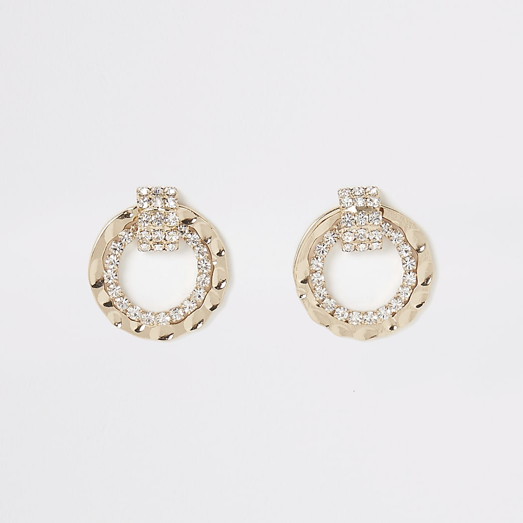 Gold colour diamante circle stud earrings