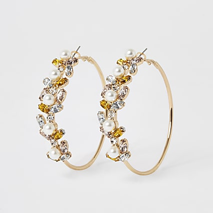 Gold colour embellished hoop earrings