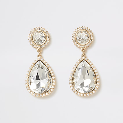 Gold colour diamante teardrop earrings