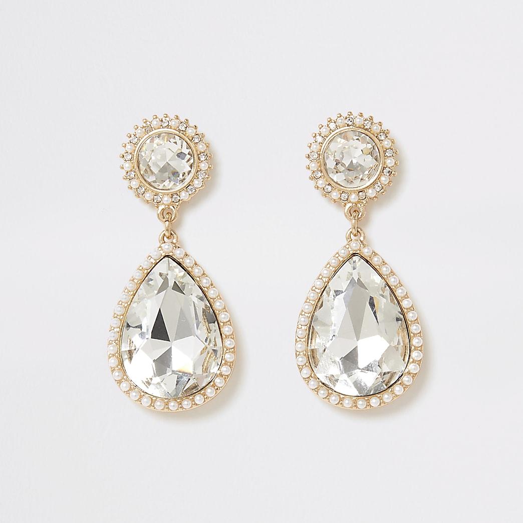 Gold colour diamante teardrop earrings