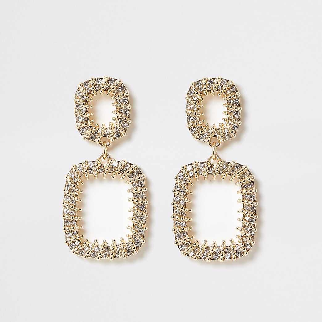 Gold colour diamante wrap drop earrings