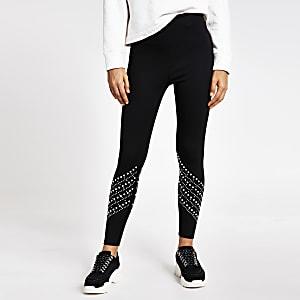Schwarze Leggings mit hohem Bund und Perlenverzierung