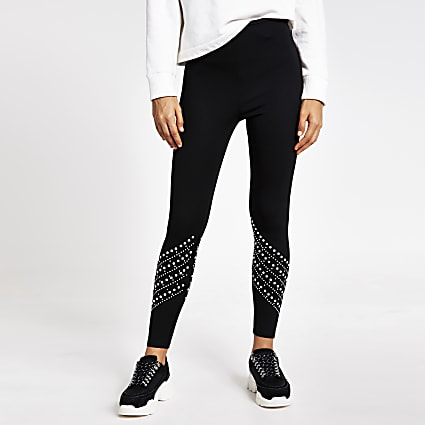 Black pearl embellished high rise leggings