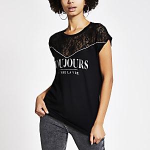 """Schwarzes T-Shirt """"Toujours"""" mit Spitze"""