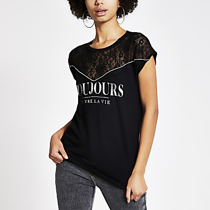Black 'Toujours' lace embellished T-shirt