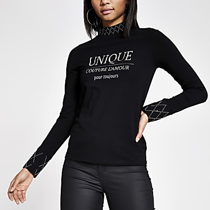 Black 'Unique' embellished high neck top