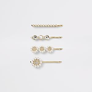 Lot de4 barrettes doréesornées de perles