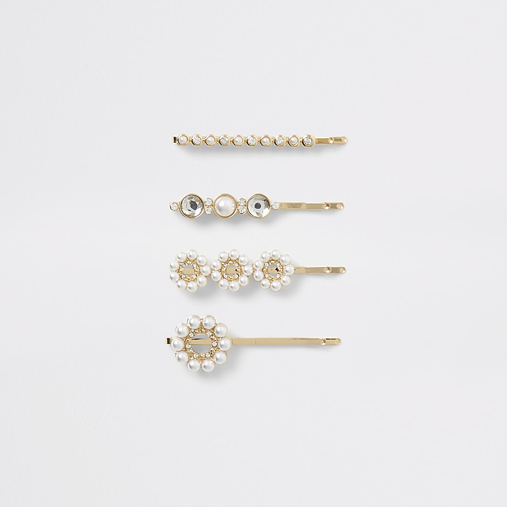 Gold tone pearl embellish hair slides 4 pack