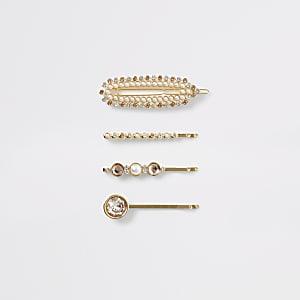 Strass-Perlen-Haarspange in Roségold, 4er-Set