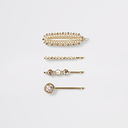 Rose gold colour embellished hair clip 4 pack