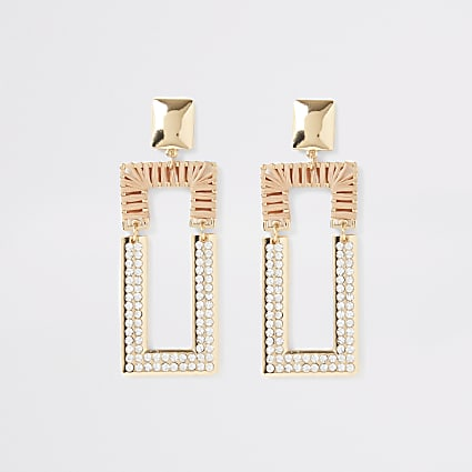Beige raffia diamante rectangle drop earrings