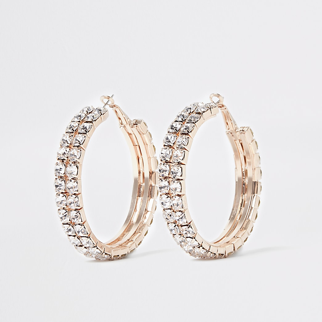 Rose gold colour diamante hoop earrings