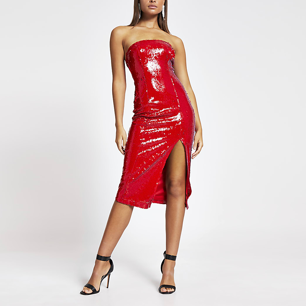 Red sequin bandeau midi dress