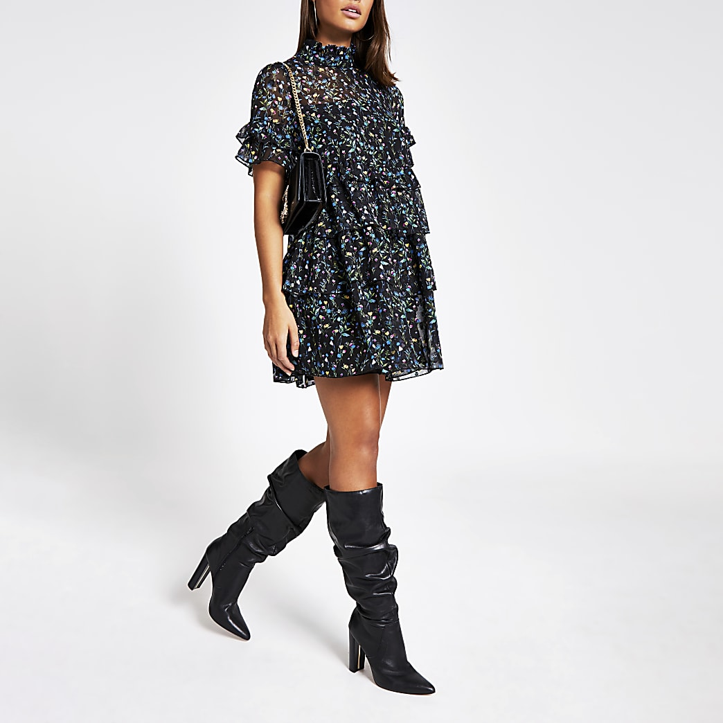 Black floral ruffle swing dress